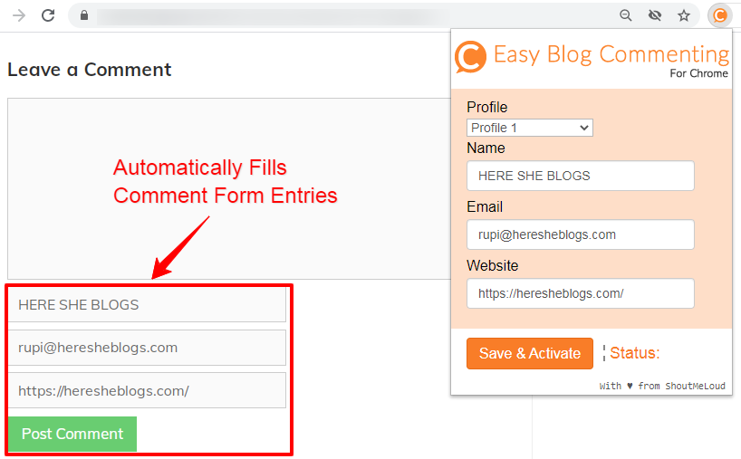 EASY BLOG COMMENTING GOOGLE CHROME EXTENSION