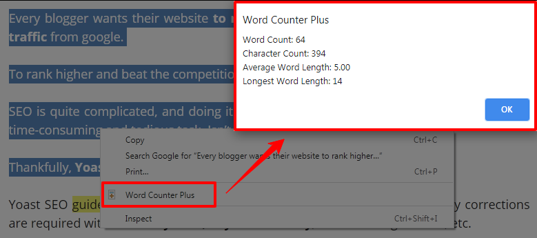 WORD COUNTER PLUS CHROME EXTENSION