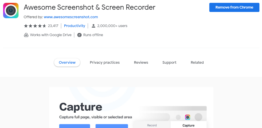 Awesome Screenshot & Screen Recorder chrome extension
